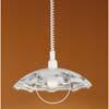 AIDA - Z�v�sn� sv�tidlo lustr, z�kladny plast b�l�, st�n�tko  sklo dekorace b�la, �ern�, fialov�, pro ��rovku 1x100W, E27,230V, IP20, za�.t�.2, d=420mm, stahovac� z�v�s h=1100mm