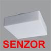 LINA 3 HF-SENZOR - Stropn� sv�tidlo, HF senzor pohybu dosah 8m, z�b�r 150�,�as 5s-5min, soumrak., z�kladna kov, povrch b�l�, difuzor sklo triplex op�l, E27, G24q-3, 230V, zv�en� kryt� IP43, rozm�ry 320x320mm, h=115mm