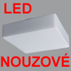 LINA 6 LED NOUZOVE - Stropn� sv�tidlo, SA - b�n� i nouzov� sv�cen�, nouz sv�cen� 1W/3h, z�kladna kov, povrch b�l�, difuzor sklo triplex op�l mat, LED  neutr�ln� b�l� 4000K nebo tepl� b�l� 3000K, 230V, zv�en� kryt� IP43, rozm�ry 380x380mm, h=120mm.