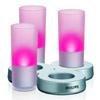LED CANDLE - LED lampi�ka, imituj�c� sv�tlo sv��ky, v barvach: �erven�, modr� a �lut�, 3x2LED, 12V, IP20, 180x180x130mm, v�etn� bezdr�tov� induk�n� nab�je�ky.